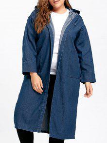 معطف الحجم الكبير طويل بقلنسوة دانيم مع جيب - ازرق 4xl