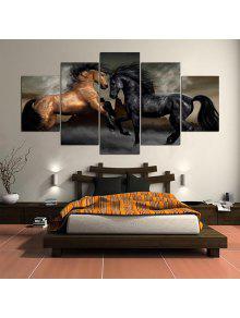 الخيول مطبوعة جدار الفن غير المؤطرة قماش اللوحات - الأسود وبراون 1pc: 8 * 20،2pcs: 8 * 12،2pcs: 8 * 16 بوصة (بدون إطار)