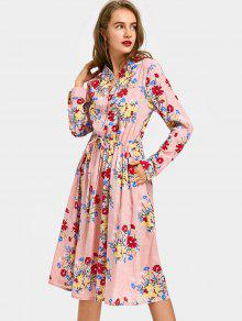 fa4896a164 28% OFF] 2019 Drawstring Waist Long Sleeve Flower Dress In PINK | ZAFUL