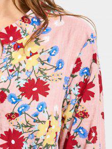 a48f790f3a 31% OFF] 2019 Drawstring Waist Long Sleeve Flower Dress In PINK | ZAFUL