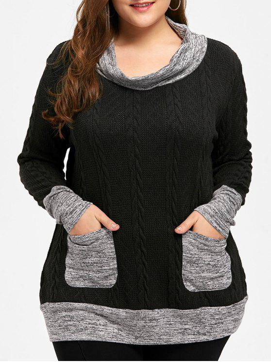 2018 Plus Size Cable Knit Cowl Neck Sweater In Black Xl Zaful