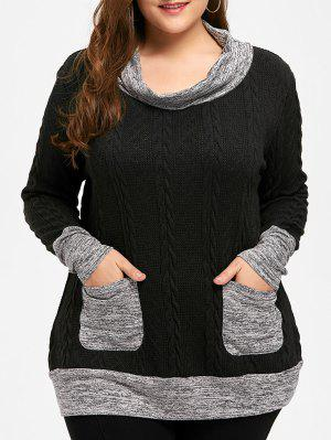 Plus Size Cable Knit Cowl Neck Sweater
