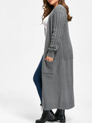 Plus Size Two Pockets Lange Ribbed Collarless Cardigan