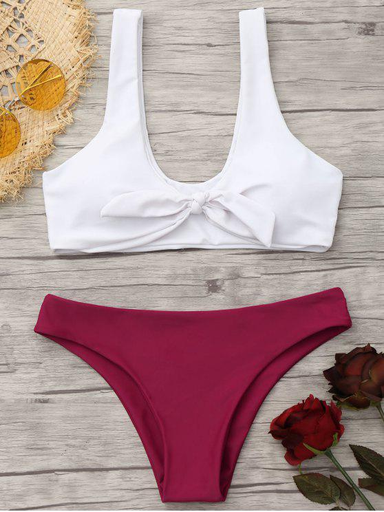 outfit Padded Knotted Bralette Bikini Set - RED AND WHITE S