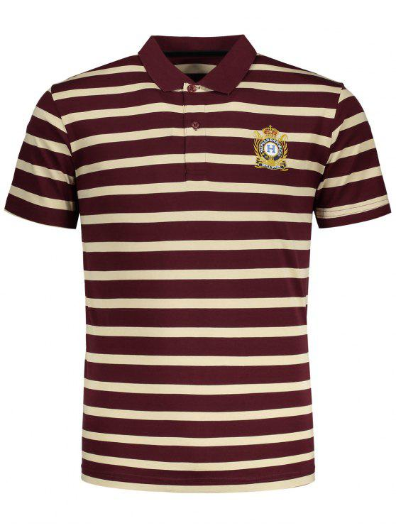 online Contrast Striped Polo T-shirt - RED 2XL