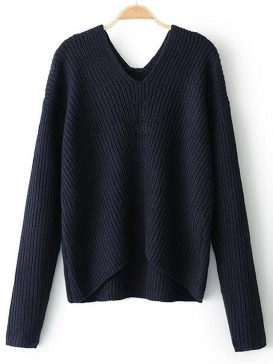 unique High Low V Neck Pullover Sweater - PURPLISH BLUE ONE SIZE