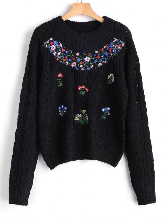 Maglione lavorato a maglia con motivo floreale - Nero Taglia unica