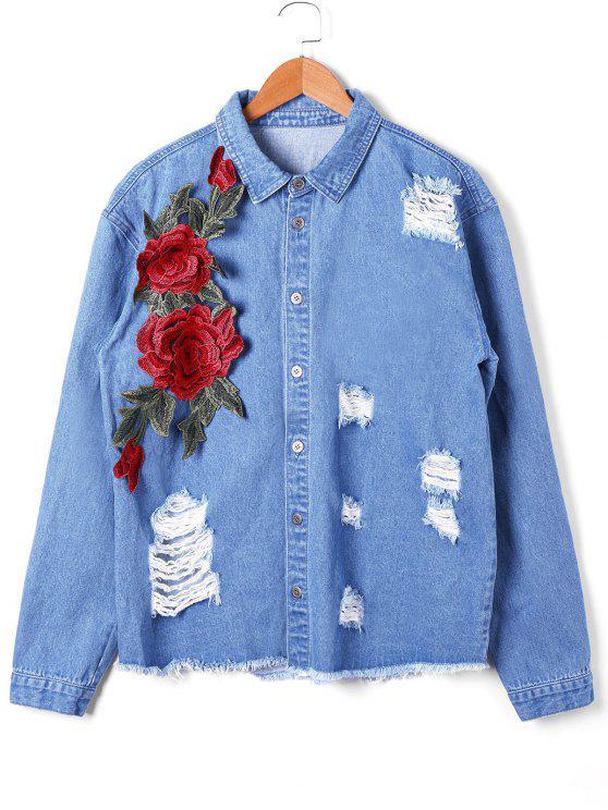 shops Appliqued Distressed Denim Jacket - DENIM BLUE L