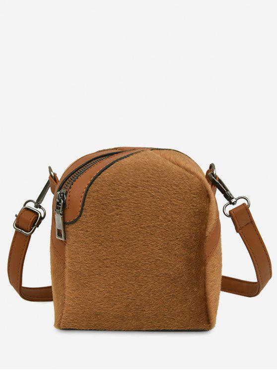 new Faux Suede Asymmetric Crossbody Bag - BROWN