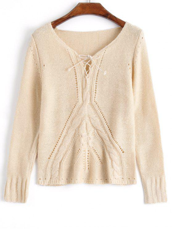 09c8d4f607 34% OFF  2019 Lace Up Cable Knit Pullover Sweater In APRICOT ONE ...