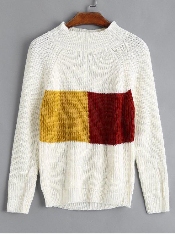 Maglione A Coste A Blocchi Di Colore - Bianca Una Taglia