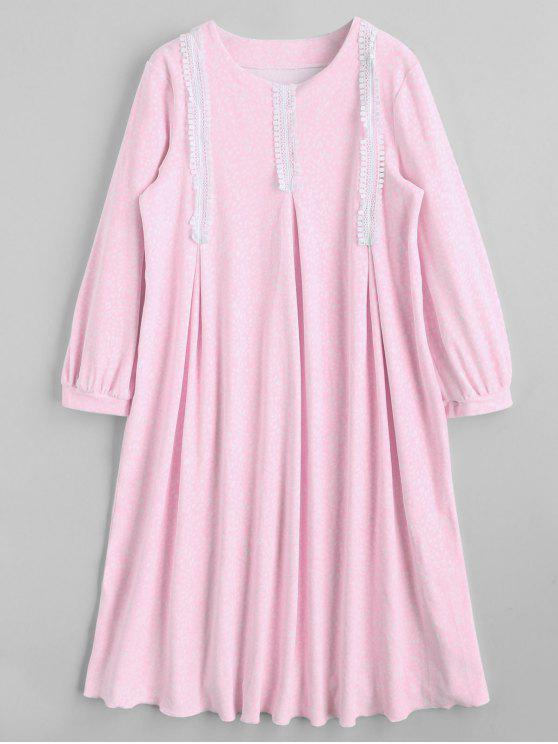 sale Patterned Flocking Loungewear Dress - PINK M