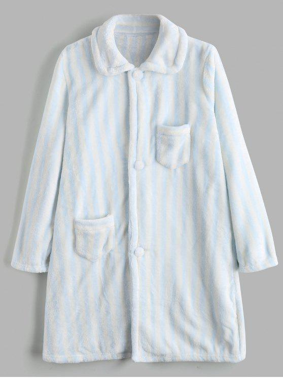 outfit Striped Button Up Flannel Loungewear - BLUE M