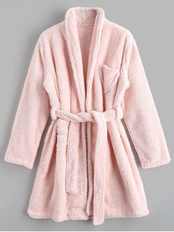 fashion Loungewear Flannel Night Robe - PINK M