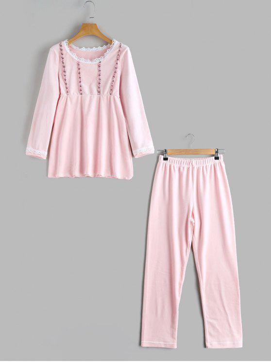 hot Applique Loungwear Flocking Top with Pants - PINK M