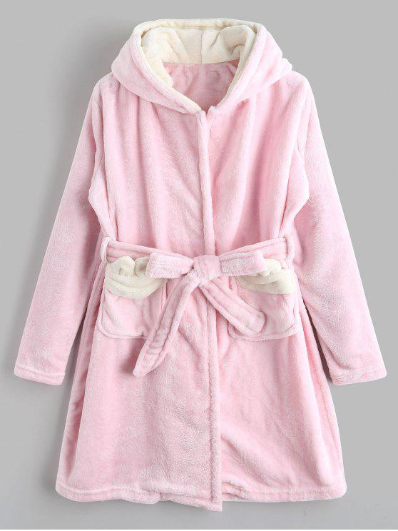 trendy Cute Hooded Cartoon Flannel Loungewear - PINK M