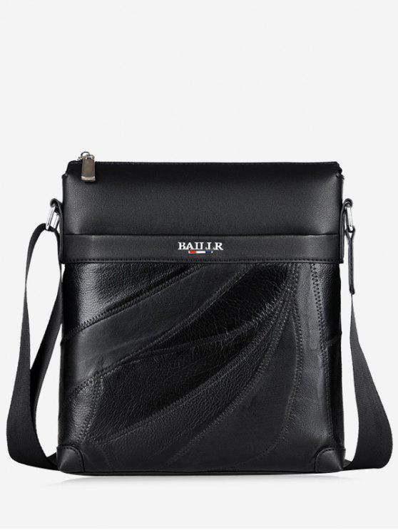 fancy Top Zip Faux Leather Messenger Bag - BLACK