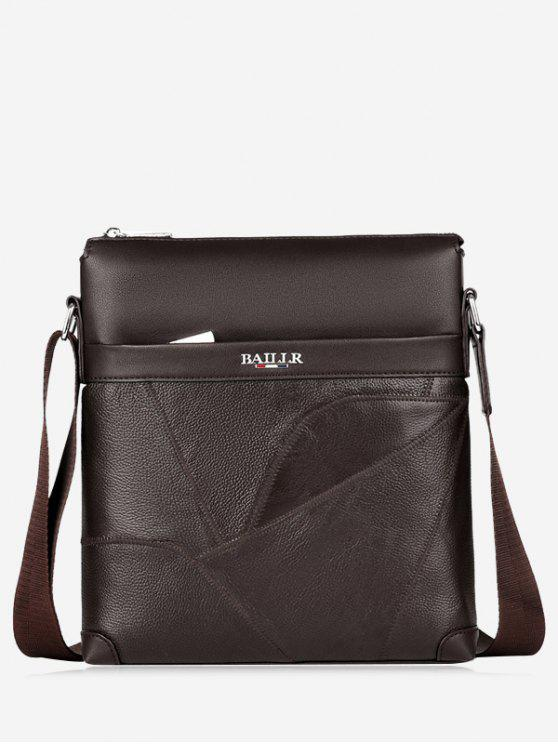Top Zip Faux Leather Messenger Bag - Marrom Cscuro