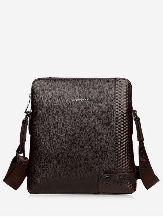 buy Zip Closure Embossed Messenger Bag - COFFEE
