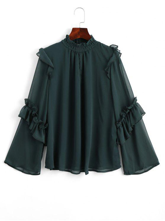 unique Keyhole Ruffles Chiffon Blouse - BLACKISH GREEN S