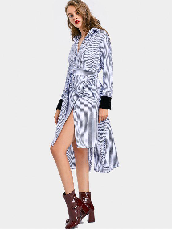 best Velvet Panel Side Slit Striped Belted Dress - STRIPE ONE SIZE