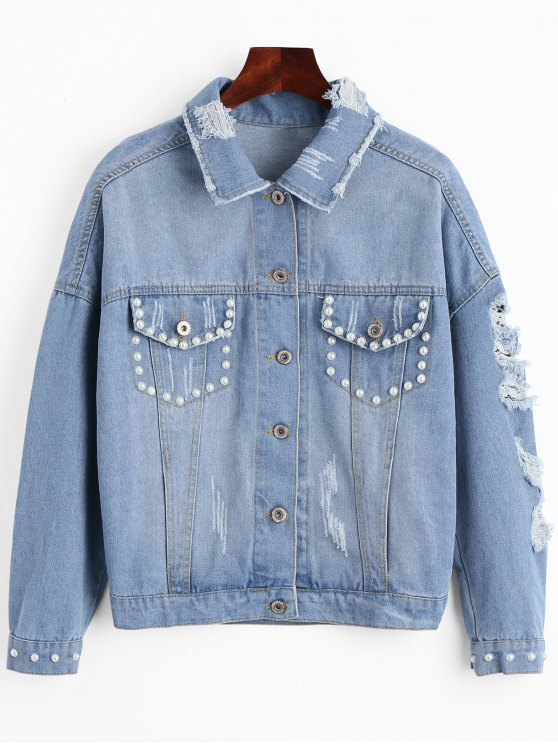 online Beading Flower Applique Ripped Denim Jacket - LIGHT BLUE S
