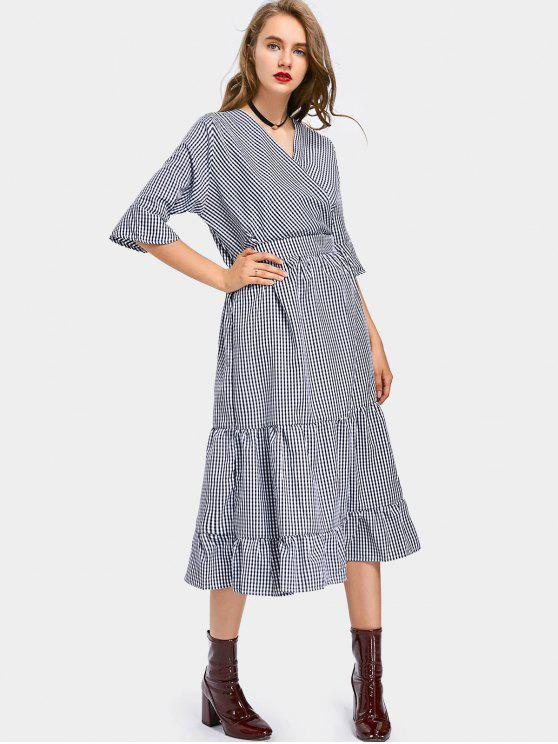 V Neck A Line Checked Dress - Carré TAILLE MOYENNE