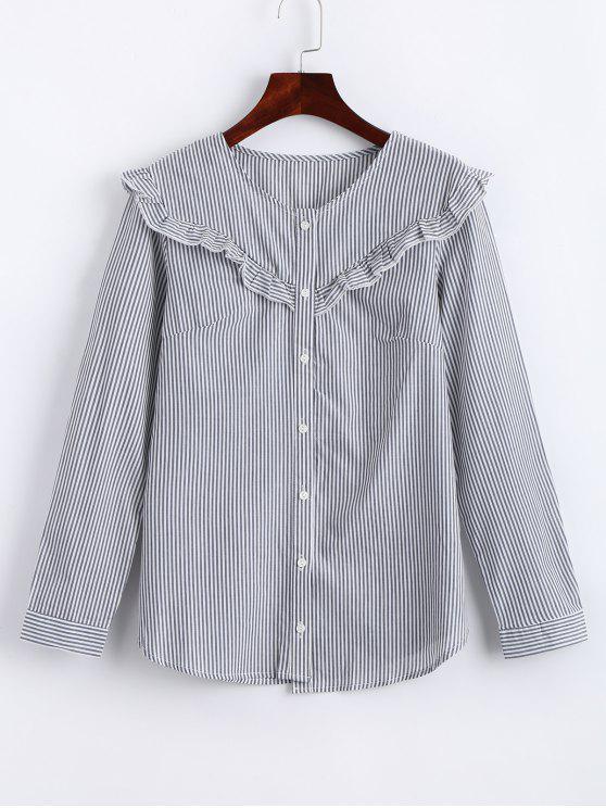 1c0a33a7bdc292 23% OFF] 2019 Button Up Ruffles Stripes Shirt In STRIPE | ZAFUL