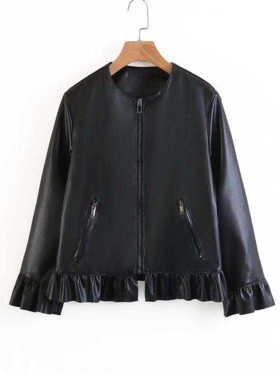lady Ruffle Hem Faux Leather Jacket - BLACK L