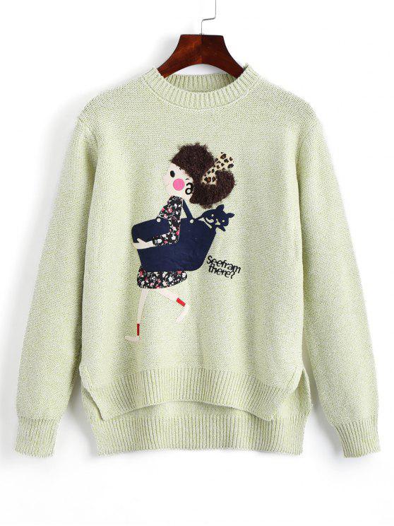 Suéter de alta densidad remendado historieta Heathered - Verde Claro Única Talla