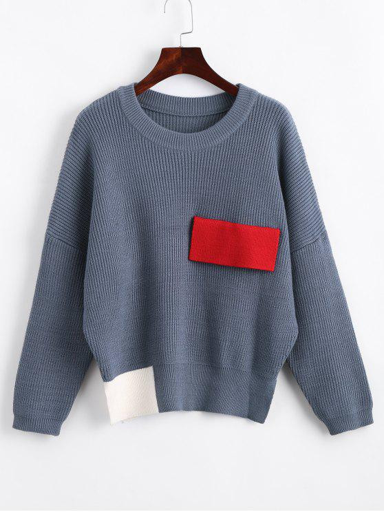 chic Color Block Oversized Side Slit Sweater - BLUE ONE SIZE