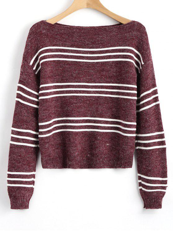 sale Long Sleeve Stripes Pullover Sweater - WINE RED ONE SIZE