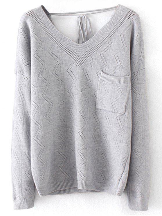 Suéter con cuello en pico - Gris Única Talla