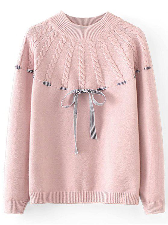 shop Bowknot Cable Knit Panel Pullover Sweater - PINK ONE SIZE