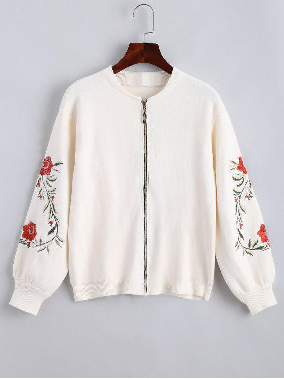 Floral Embroidered Zip Up Cardigan - Blanco Talla única