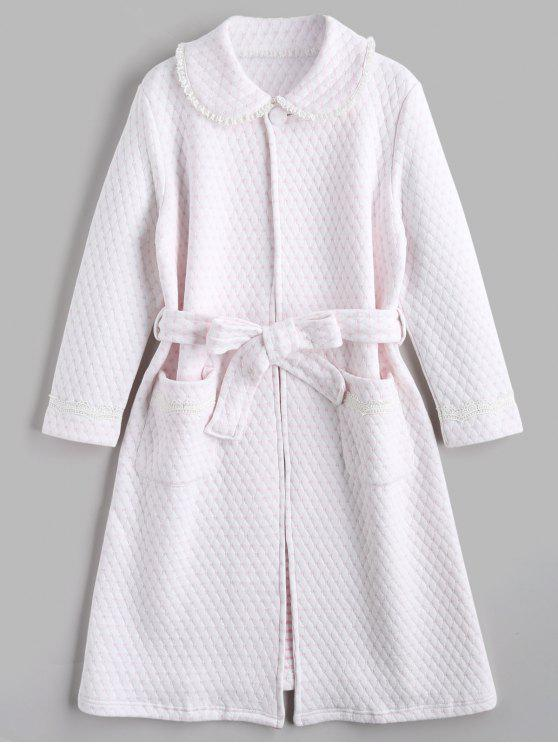 affordable Loungewear Textured Flocking Heart Night Robe - LIGHT PINK M