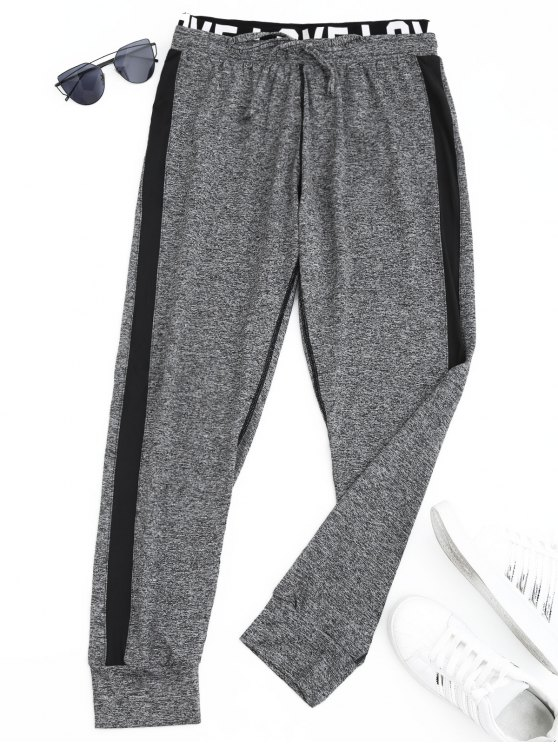 ladies Sports Heathered Letter Jogger Pants - GRAY S