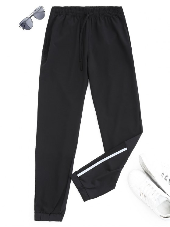 new Drawstring Taper Sports Pants - BLACK S