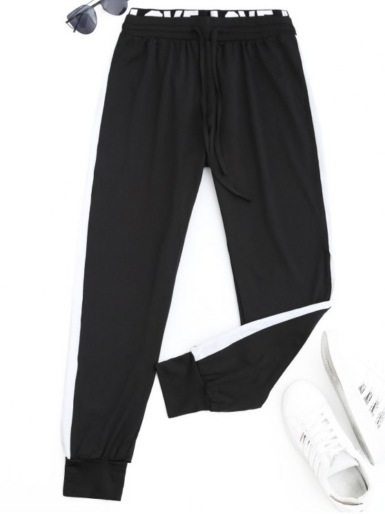 Sports Two Tone Letter Jogger Pants - Preto XL