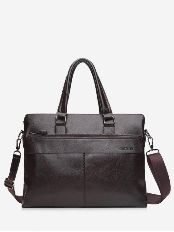 Compartiment Faux Leather Business Briefcase - BRUN