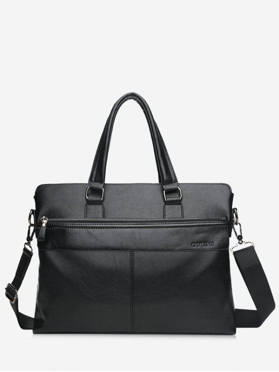 Compartiment Faux Leather Business Briefcase - Noir