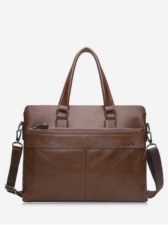 Compartiment Faux Leather Business Briefcase - Kaki