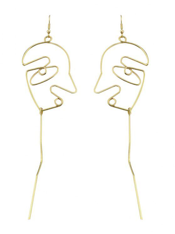 women's Face Shape Bar Pendant Earrings - GOLDEN
