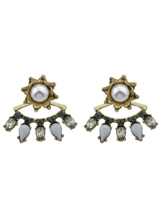 hot Flory Faux Pearl Waterdrop Earrings - GOLDEN