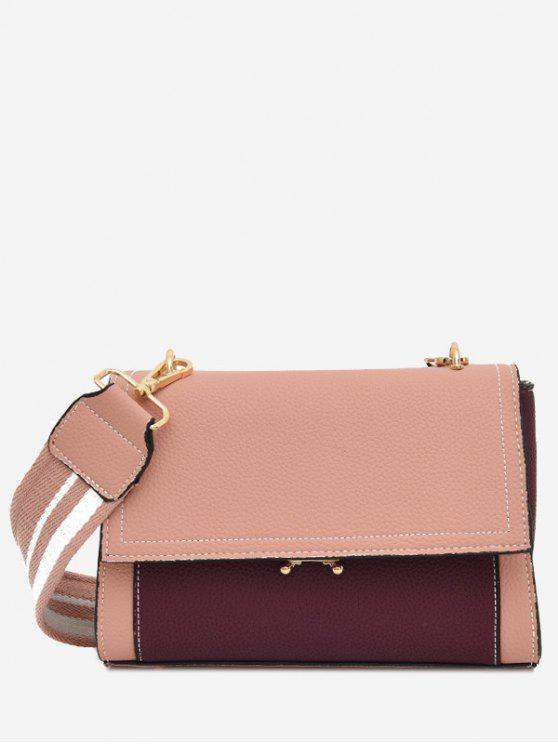 outfits Color Block Flap Crossbody Bag - PINK