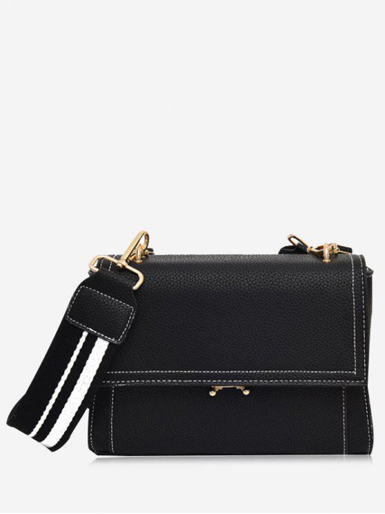 shop Color Block Flap Crossbody Bag - BLACK