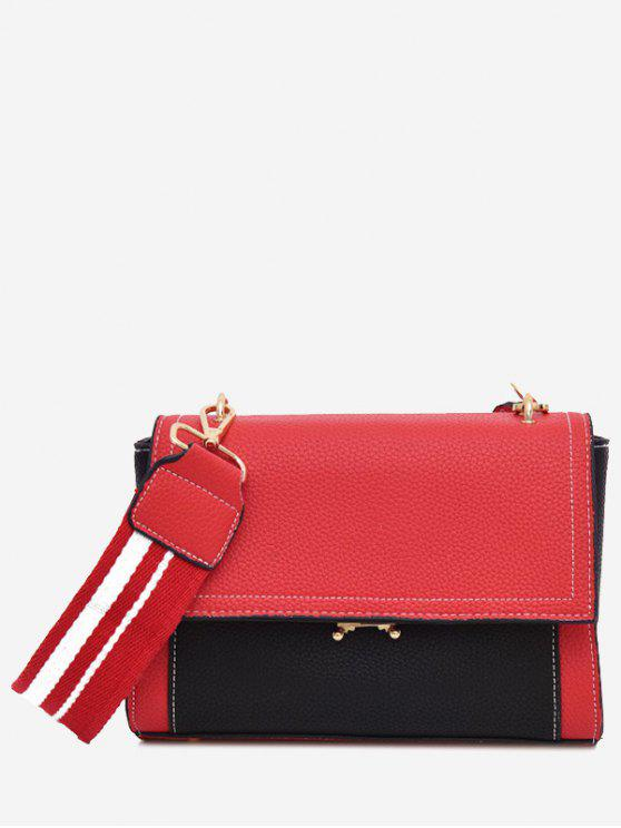 shops Color Block Flap Crossbody Bag - RED