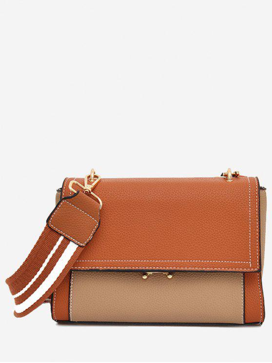 latest Color Block Flap Crossbody Bag - BROWN