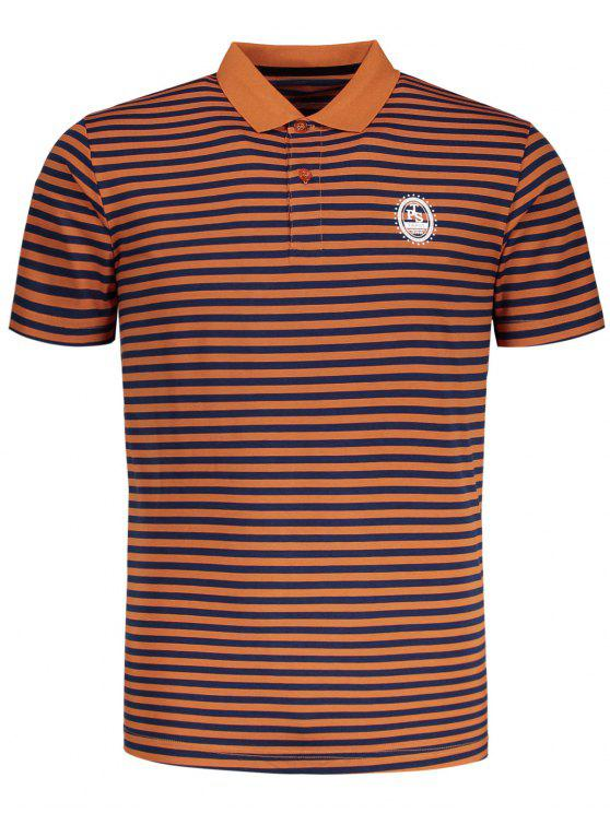T-shirt Polo à Rayures - Orange 2XL