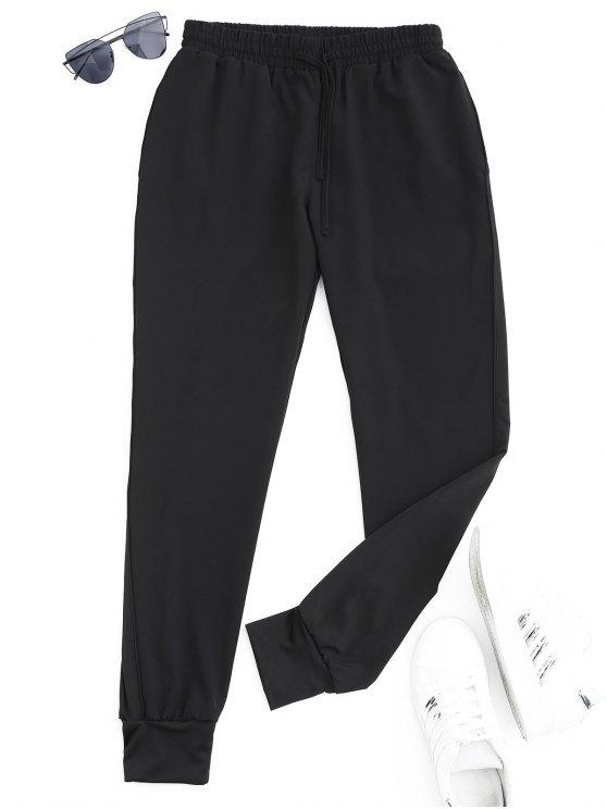 Pantalones deportivos deportivos con cordón - Negro S